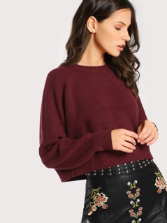 Solid Basic Ribbed Sweater MAROON