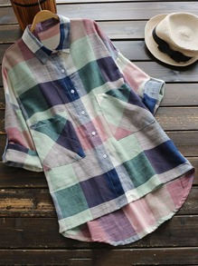 Roll Sleeve Patch Pocket Detail Check Blouse