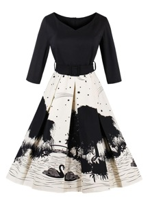V-neckline Ink Painting Print Combo Dress