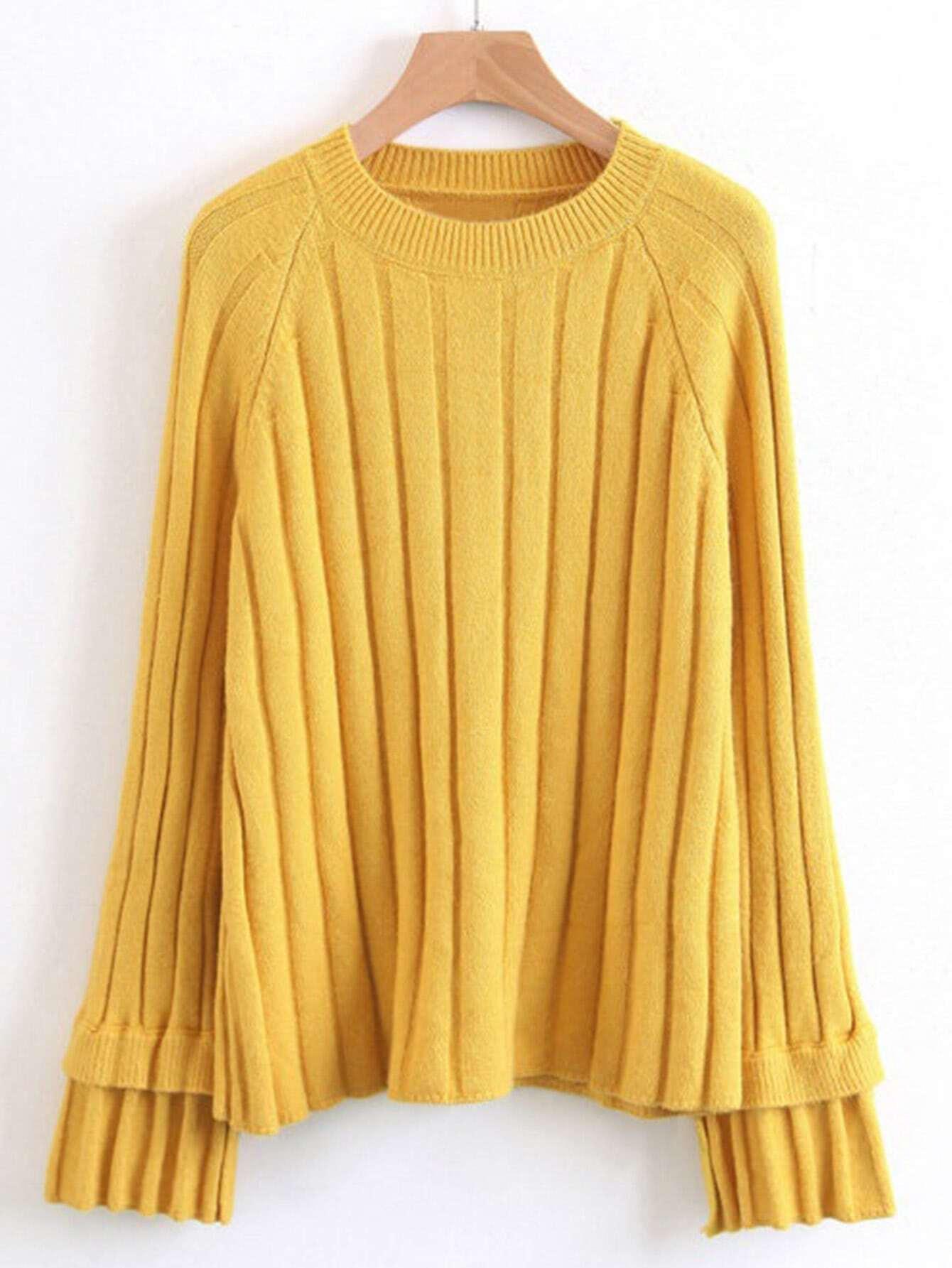 Tied Cuff Raglan Sleeve Ribbed Knitwear rkni170915211