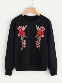 Floral Patch Front Sweatshirt