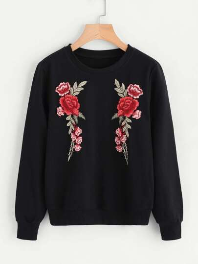 Sweat-shirt avec applique floral avant