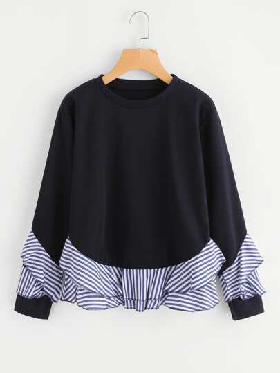 Contrast Striped Frill Trim Sweatshirt