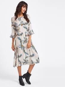 Ruffle Sleeve Floral Print Random Dress
