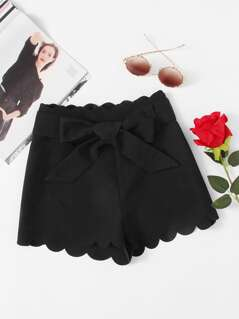 Bow Tied Waist Scallop Trim Shorts
