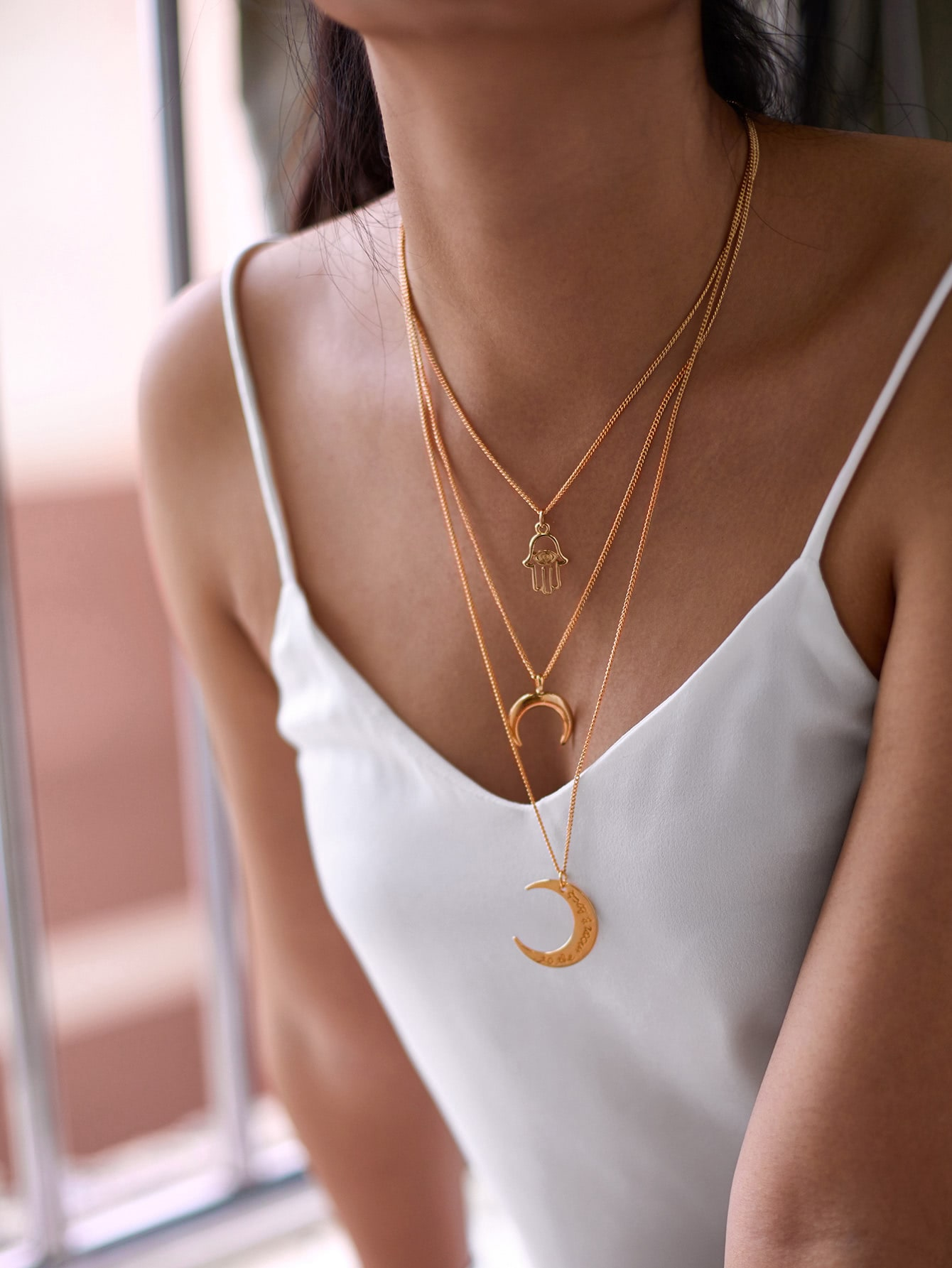 Double Moon Pendant Chain Necklace double ring letter link chain pendant necklace