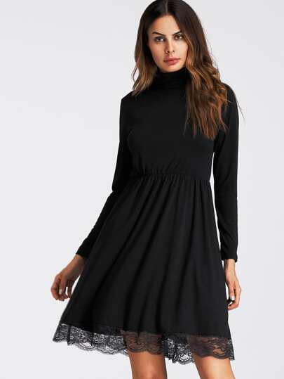 Scallop Lace Hem Skater Dress