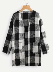 Check Plaid Tweed Coat