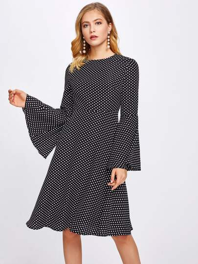 Trumpet Sleeve Polka Dot Print Dress