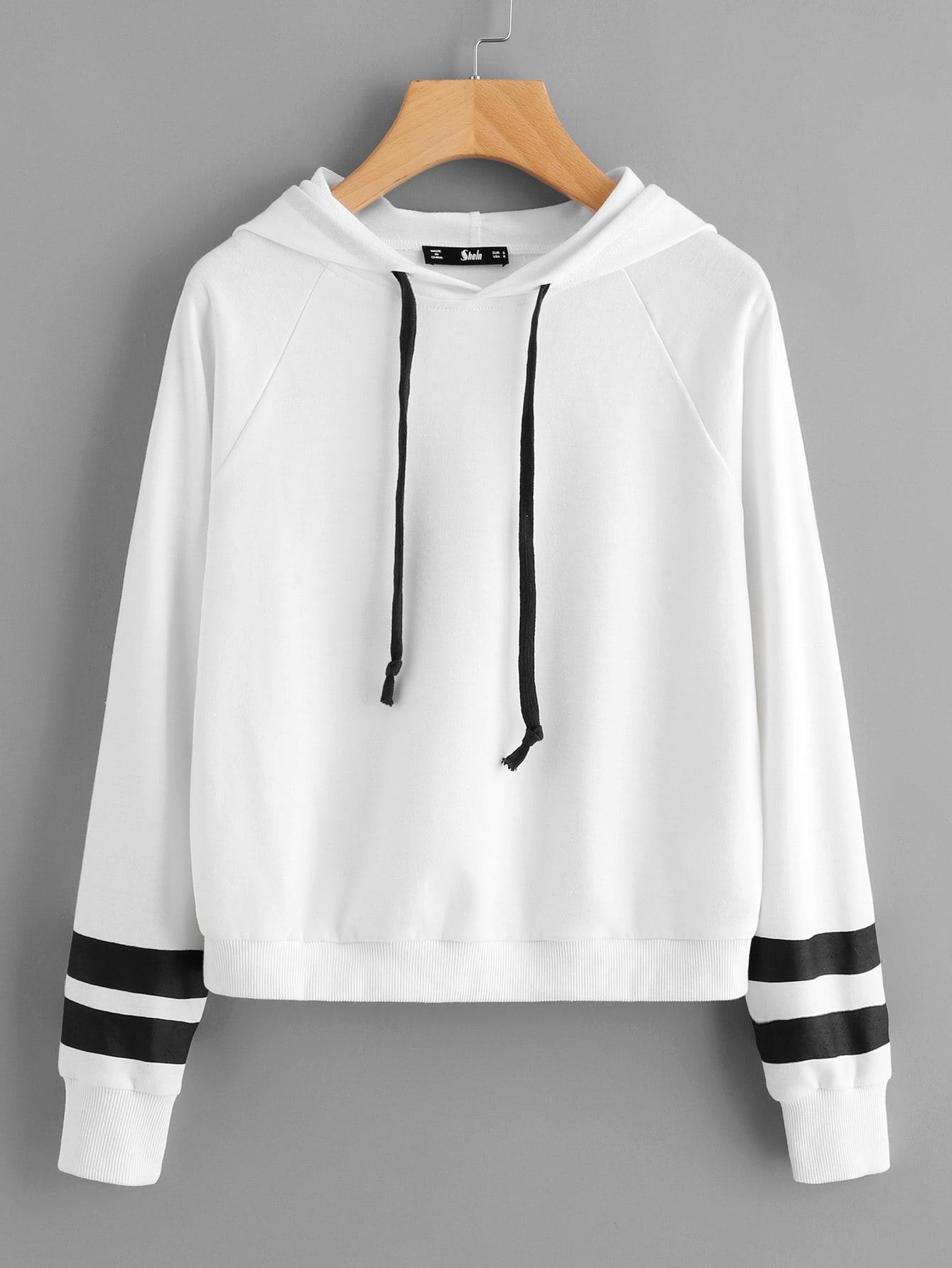 Striped Raglan Sleeve Hoodie striped raglan sleeve hoodie