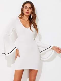 Contrast Binding Trumpet Sleeve Form Fitting Dress