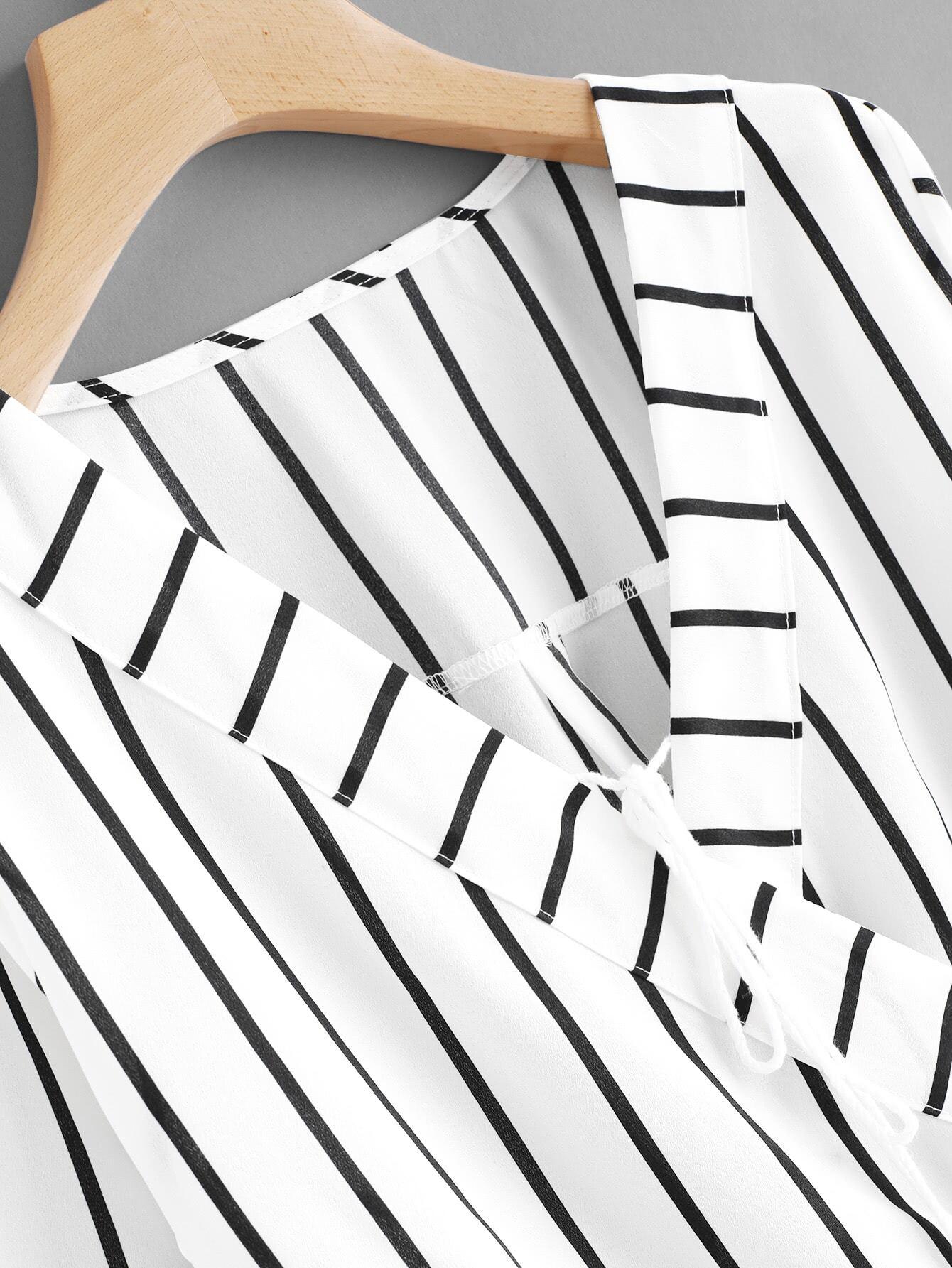Contrast Striped Surplice Neckline Tassel Tie Blouse