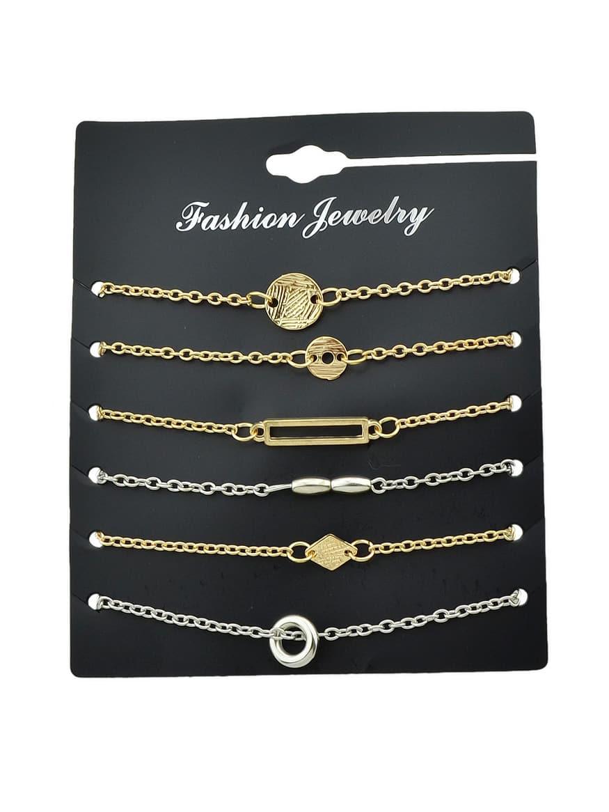 6Pcs/Set Gold Color Geometric Ring Fine Bracelet br5959