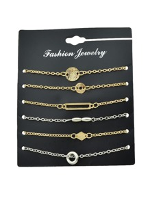 6Pcs/Set Gold Color Geometric Ring Fine Bracelet