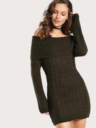 Off Shoulder Knit Sweater Dress OLIVE