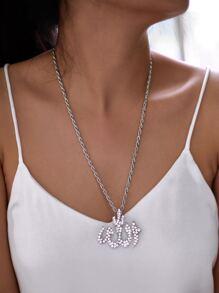 Rhinestone Geometric Pendant Chain Necklace