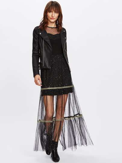Tape Detail Glitter Mesh Overlay Skirt