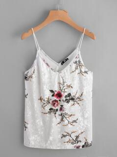 Dual V Neck Floral Velvet Cami Top