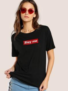 Slay Me Drop Sleeve Tee BLACK