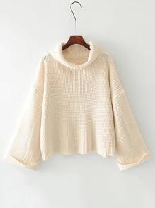 Turtle Neck Waffle Knit Sweater