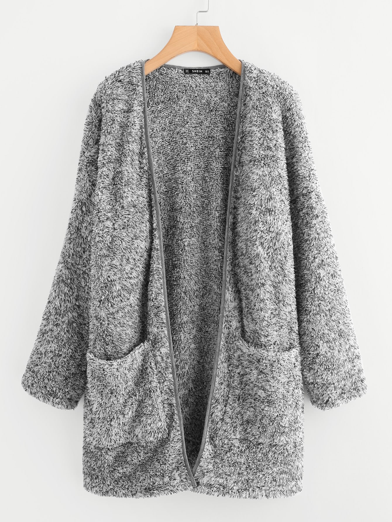 Patch Pocket Open Front Fuzzy Coat open front side pocket hooded coat