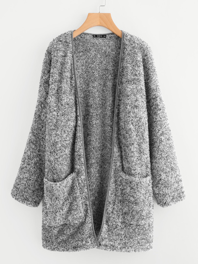 Patch Pocket Open Front Fuzzy Coat