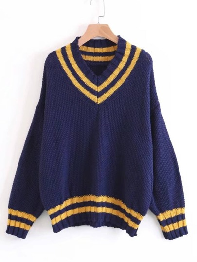 Varsity Striped V Neckline Sweater