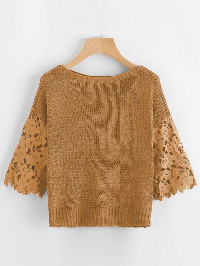 Hollow Out Crochet Sleeve Insert Sweater