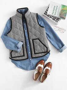 Patch Pocket Contrast Binding Vest