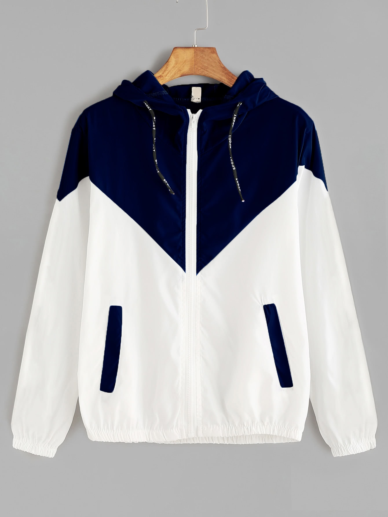 Hooded Drawstring Cut And Sew Jacket