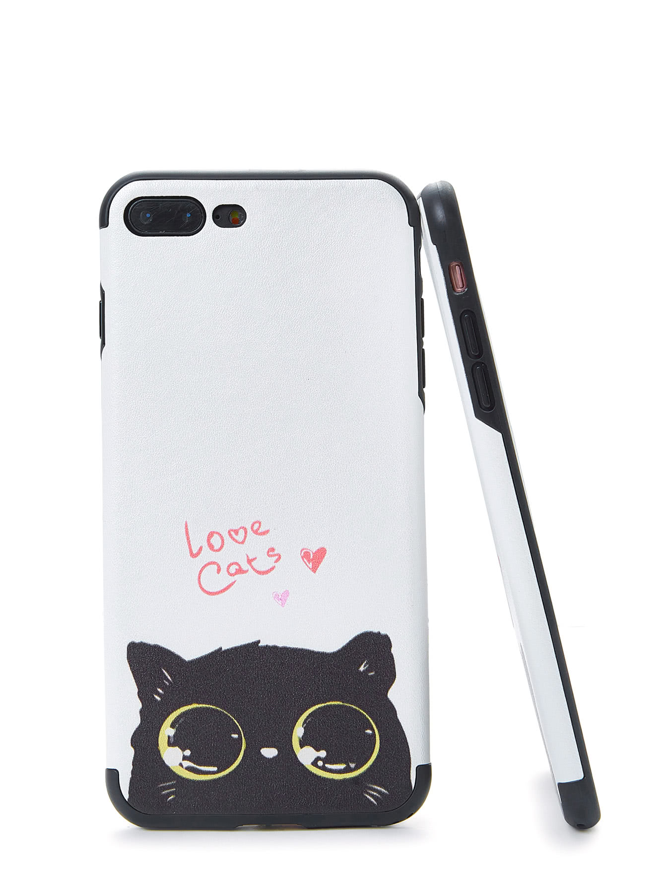 Two Tone Cat Print iPhone Case two tone letter print top
