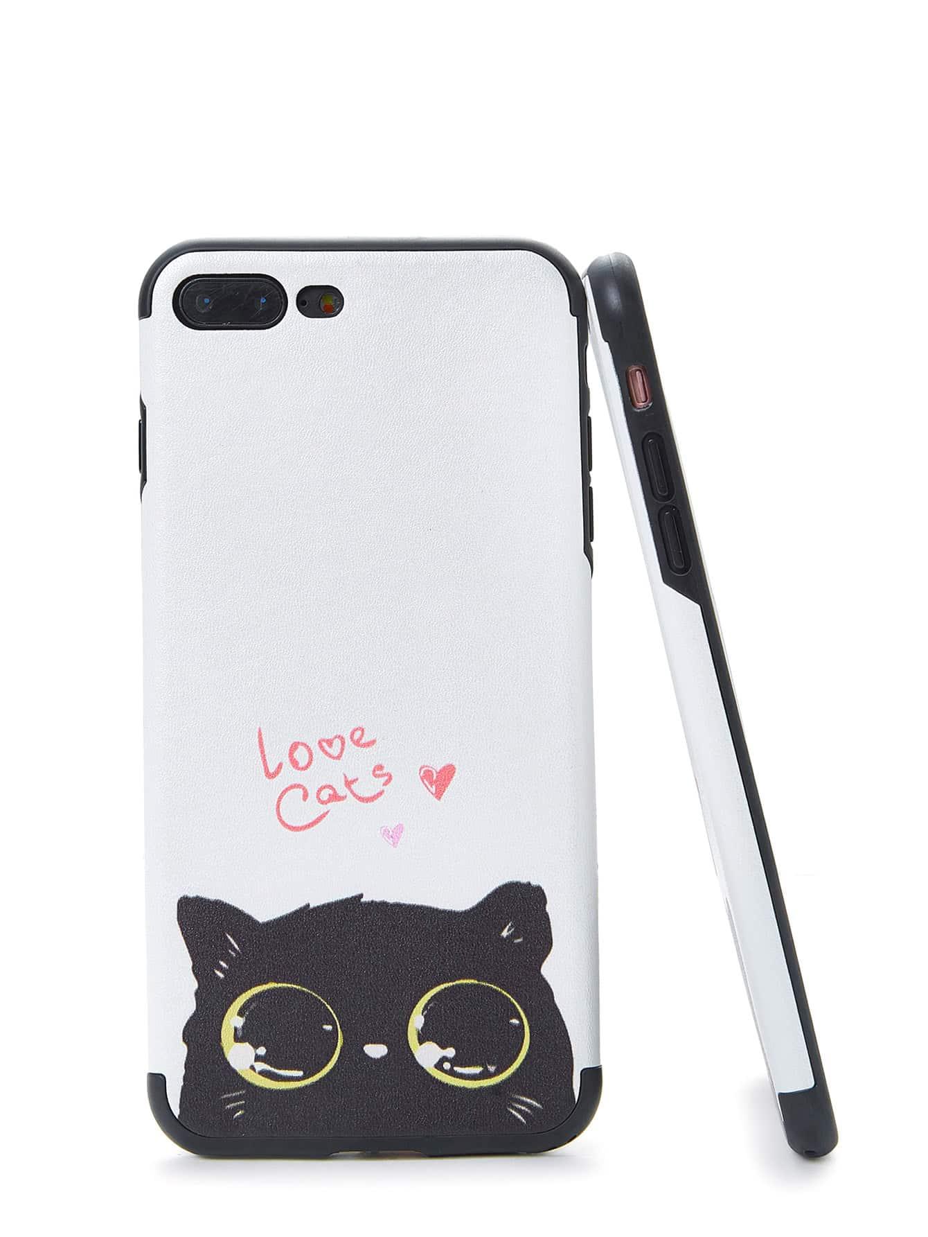 Two Tone Cat Print iPhone Case