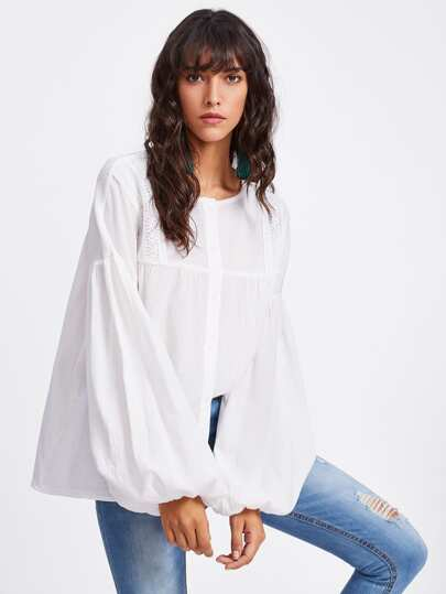 Lace Detail Exaggerate Lantern Sleeve Blouse