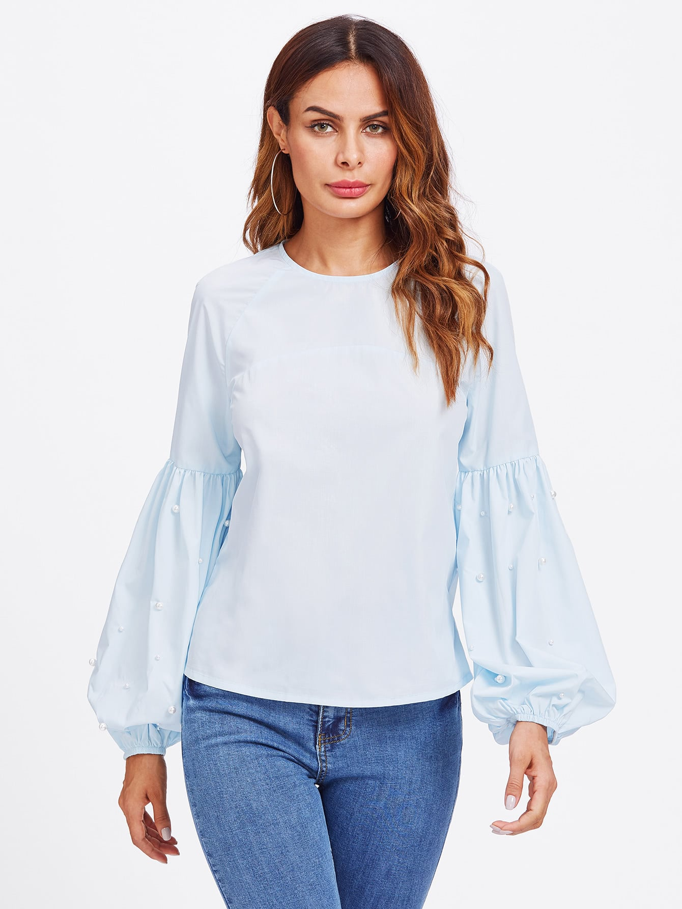Exaggerated Lantern Sleeve Pearl Detail Blouse pearl detail layered frill sleeve top