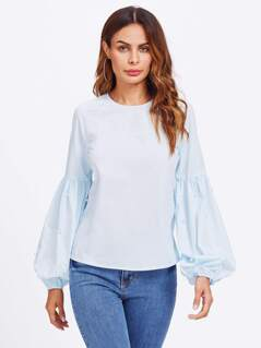 Exaggerated Lantern Sleeve Pearl Detail Blouse