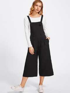 Buttoned Strap Elastic Waist Culotte Jumpsuit