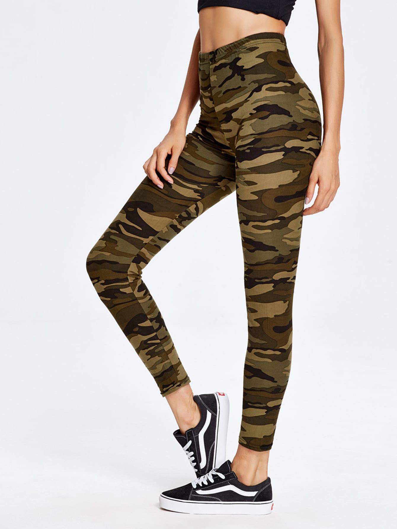 Camouflage Print Ankle Leggings camouflage print crop leggings