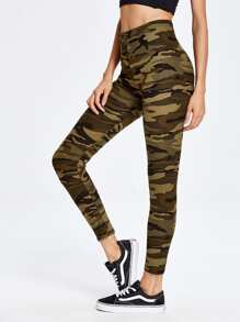 Camouflage Print Ankle Leggings