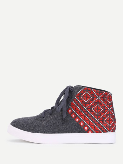 Aztec Pattern High Top Tweed Trainers