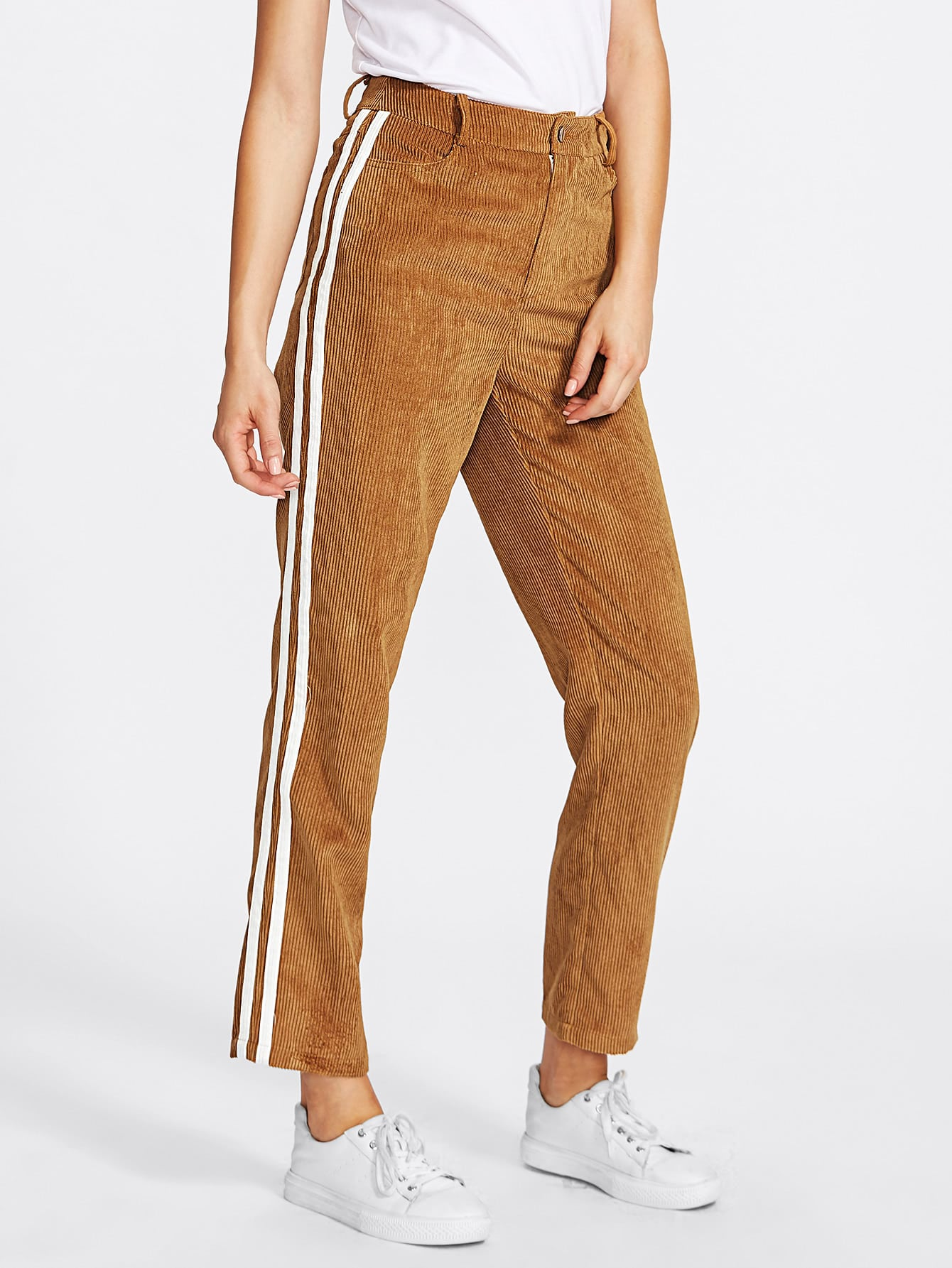 Striped Side Cord Pants
