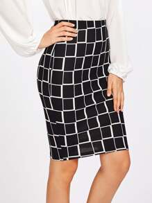 Square Print Pencil Skirt