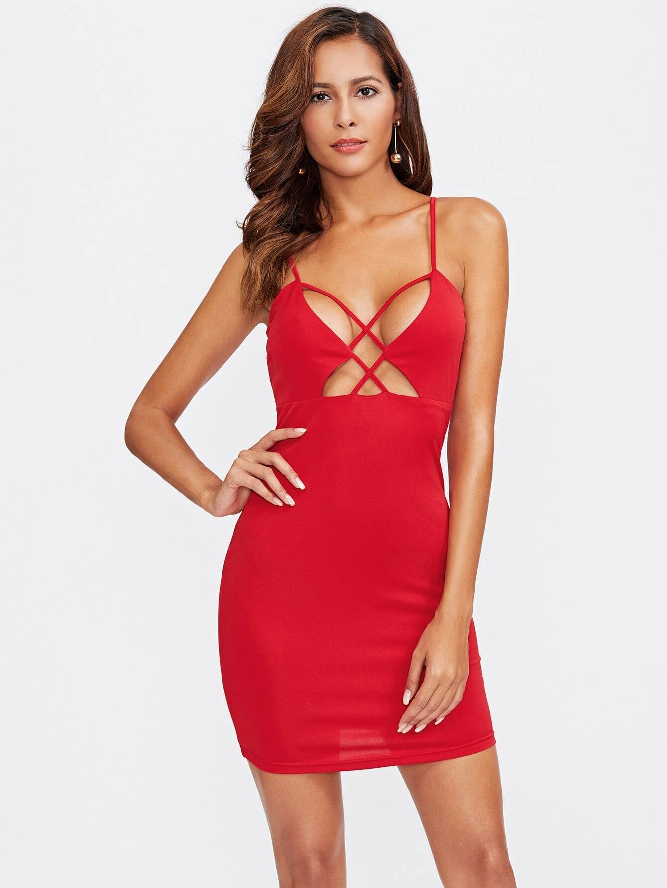 Caged Front Plunging Cami Dress dress170920713