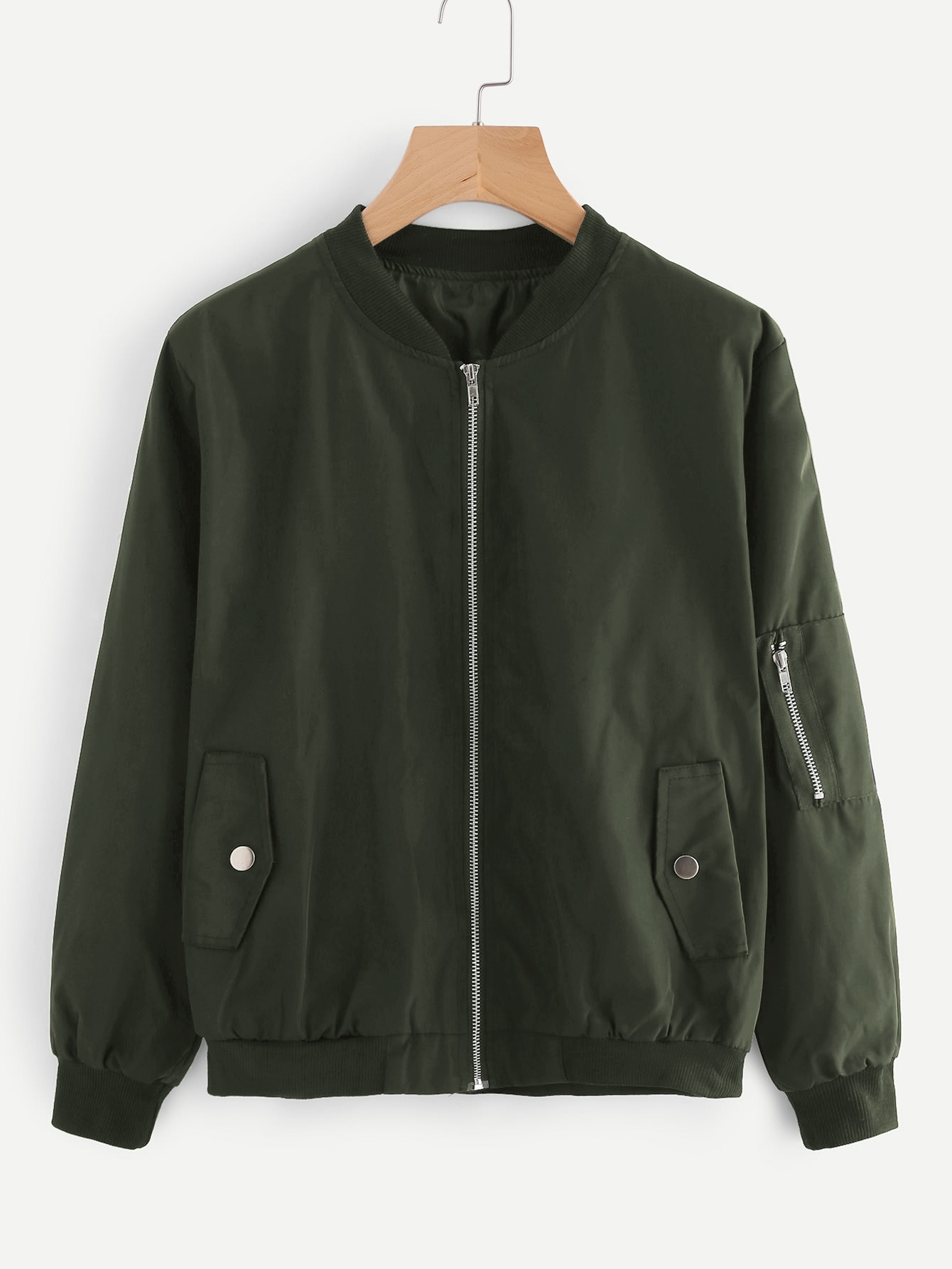 Ribbed Trim Bomber Jacket