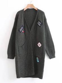 Patch Detail Longline Sweater Coat
