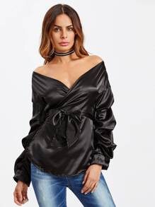 Off Shoulder Wrap Top With Belt