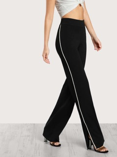 Contrast Side Slit Knitted Pants BLACK