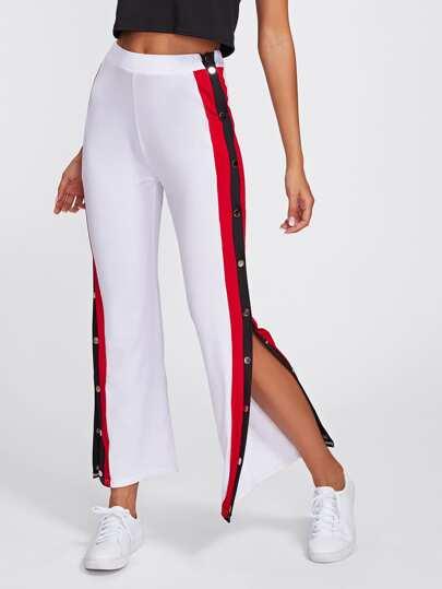 Side Striped Button Embellished Split Pants