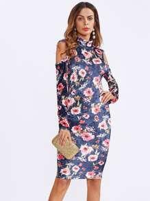 Cutout Shoulder And Back Fitting Velvet Dress