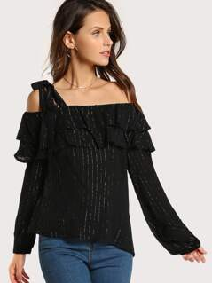 Single Shoulder Striped Top BLACK