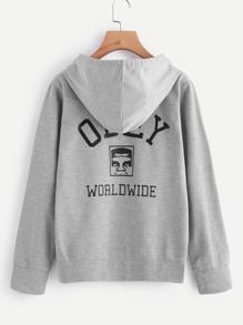 Camisa con impresión y bolsillo de canguro